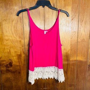 ♦️Dots Pink Crochet Lace Tank Top Size Small